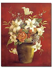 伸張フレーム付プリント花と花瓶キャンバスの芸術