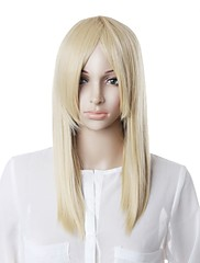Capless High Quality Synthetic White Straight Hair Wig