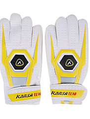 アンチスキッド拡張ブレイサーフルフィンガーPUの白と黄色の耐久力のあるプロサッカーのゴールキーパーグローブ(1ペア)