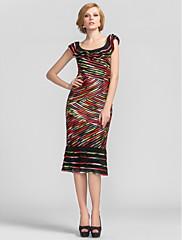 シース/列スクープ膝丈ストレッチサテンイブニングドレス