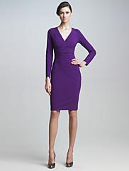 ファッションコレクションVネックロングスリーブジャージーワンピース