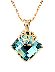 ガラスレディースネックレス(その他の色)が付いている美しい合金