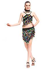 女性より多くの色のためのダンスウェアポリエステルスパンコールパフォーマンスラテンダンスの衣装