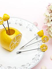 フレッシュレモンホルダー内の5ピースフルーツフォークセット