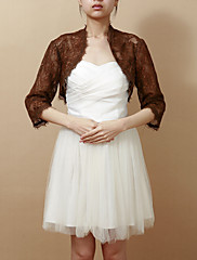 結婚式のラップ コート/ジャケット 3/4スリーブ レース チョコレート 結婚式 / パーティー Tシャツ フロントオープン