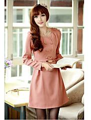 růžový double prsa linka šaty s páskem