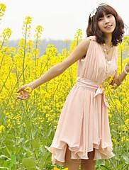 korean style v krku ruffle houpačka šifon šaty (růžová)