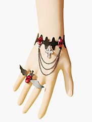 ručne crno šišmiša PU kožna Gothic Lolita narukvica s prstenom