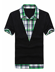 Pánské Jednobarevné Denní nošení Krátký rukáv Triko-Černá / Bílá