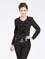 BLUG韓国スタイルブラック長袖フラウンスシャツ