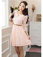 korean style růžové dámy krajkové šaty (odesílání pás)