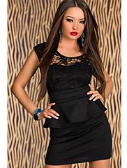 slunečnice černá krajka Peplum mini šaty (prsa: 86 - 102cm pas: padesát osm do sedmdesát devět cm hip: 90-104cm délka: 78 cm)