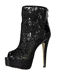 Elegantní krajkové Stiletto Heel Peep Toe / kotníkové boty Sandály strana / Večerní boty