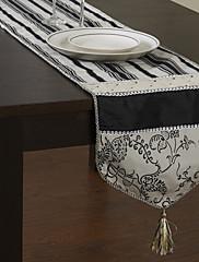 Classic Black and White vzorované Tabulka Runner