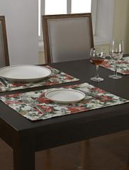 4カントリーポリエステル綿混紡の印刷物赤い花のランチョンのセット