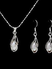 sladkovodní perla s slitiny chromované šperky svatební svatební sada včetně náhrdelníku a náušnic