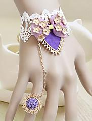 Desert Flower Palace Bow White Lace Princezna Lolita Ring náramek
