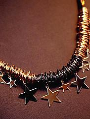 Módní černé provazy a hvězda náhrdelník s přívěskem