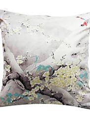 """18 """"スクエアホワイトプラムプリントポリエステル装飾的な枕カバー"""