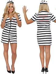 セクシーprisonor黒と白のストライプの女性のハロウィンコスチューム