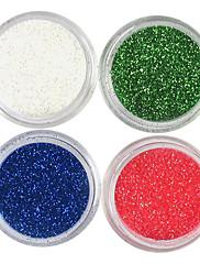 4 Barvy Laser Glitter Acrylic Powder sada pro 3D Nail Art č.5