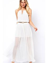 Lewen Dámský kulatý límec rukávů Slim šifónové šaty (bílá)