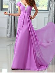 Lady Antebellum Puff Sleeve šifónové večerní šaty