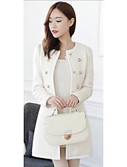 Dream Ženy Korean Slim Fur Collar vlněná srst (bílá)