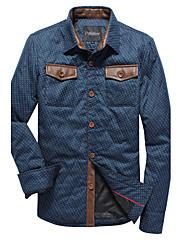 Xingke Pánské Warm Silný Velvet s dlouhým rukávem bavlněné tričko (modrá)