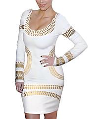 Dámská Print Long Sleeve Bodycon Mini Dress