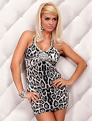 Hot Girl Leopard Slim Noční klub Sexy Party Uniform s Shining Gemstone (pro velikost M)