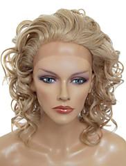Krajka Přední Stylový Středně dlouhé Curly Tepelně odolný syntetický paruka (blond)