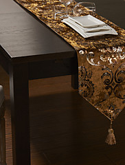 ヨーロピアンスタイルのglimmarベロアは、印刷されたテーブルランナーをカット