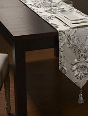 銀ポリシルクジャカード花のテーブルランナー