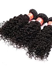 16 Inch Velké 5A brazilské Virgin Lidské vlasy Nature Black Barva Kinky kudrnaté vlasy rozšíření