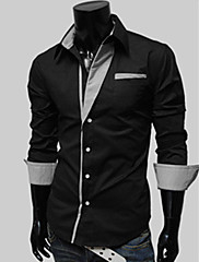 Wshgyy Pánské Stripe Long Sleeve Bodycon Práce Black Shirt