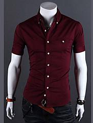 Wshgyy Pánské Bodycon Solid Color s krátkým rukávem pro volný čas Víno košile
