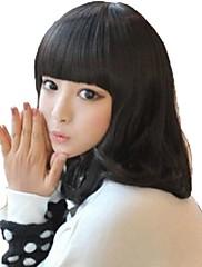 Capless Woman Fashion Natural Black Medium kudrnaté vlasy syntetické Plný Bang Paruky