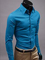 S & M Pánské Solid Color Long Sleeve Shirt 6492 modrá