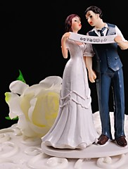 ケーキトッパー 非パーソナライズ 夫妻 樹脂 結婚式 ホワイト / ブルー フローラルテーマ / クラシックテーマ ギフトボックス