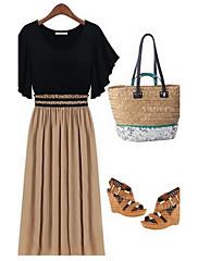 Mifeier Evropská Pletení šifon Slim Dress (Black) -1268