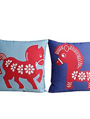 2国赤馬コットン/リネン装飾枕カバーのセット
