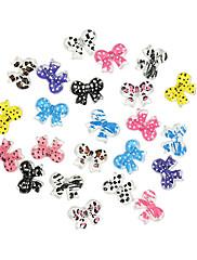 24ks roztomilý multi-barevné pryskyřice Bowknot nail art dcoration