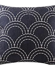 黒い波コットン/リネン装飾枕カバー