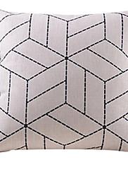 ベージュ幾何学的なコットン/リネン装飾枕カバー