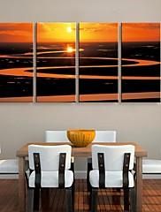 キャンバス地は4の川の風景画セットに夕日の芸術