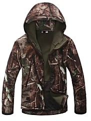 Esdy Men's Softshell Jacket Outdoor Hunting Camping Waterproof Trees Camouflage Coats Hoodie