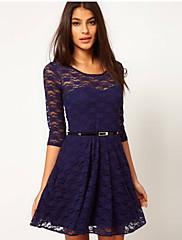 WOMEN - セクシー - ドレス ( コットン / レース ラウンド - 五分袖