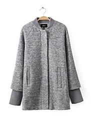 Women's Casual Mock Neck Suit Long Vntage Coat