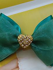 Zelená organza 12cm saténovou mašlí Classic Lolita lamely s kovovou Knot